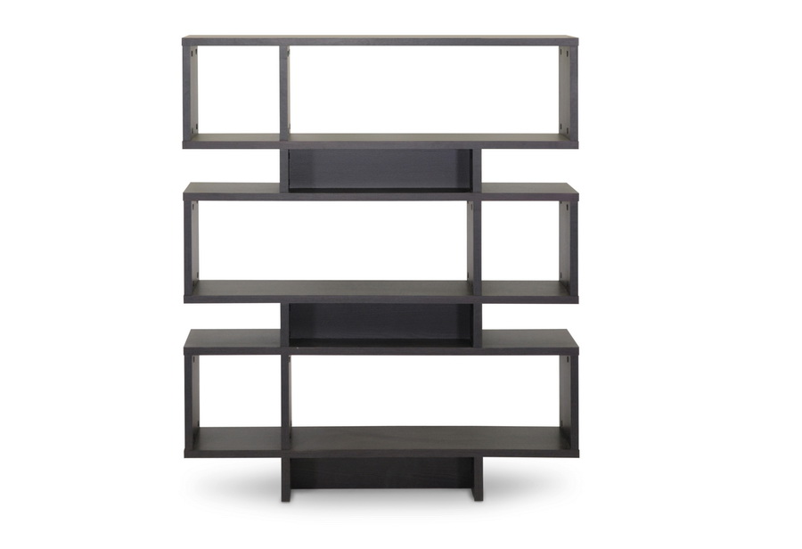 Cassidy 6 Level Dark Brown Bookshelf | Baxton Studio