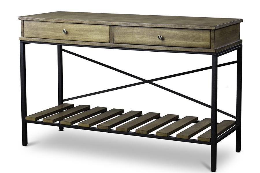 Newcastle Wood Metal Console Table Criss Cross | Baxton Studio