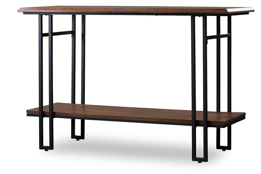 Newcastle Wood Metal Console Table | Baxton Studio
