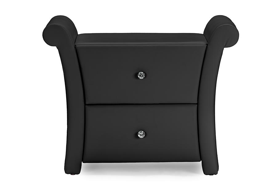 Victoria Matte Black PU Leather 2 Storage Drawers Nightstand Bedside Table   Baxton Studio
