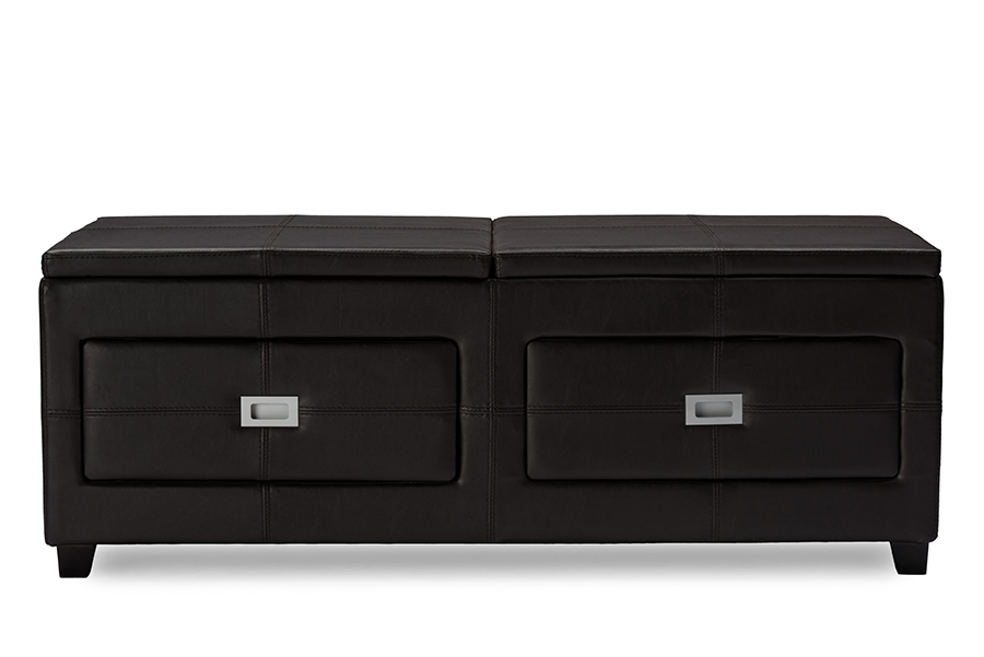 Indy Functional Lift top Cocktail Ottoman Table with Storage Drawers Tray | Baxton Studio