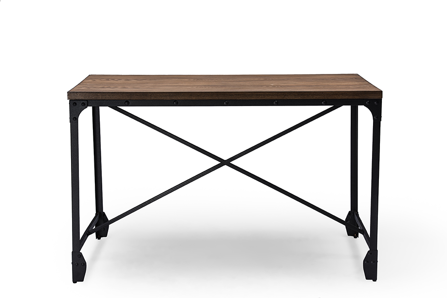 Greyson Antique Bronze Home Office Wood Desk   Baxton Studio