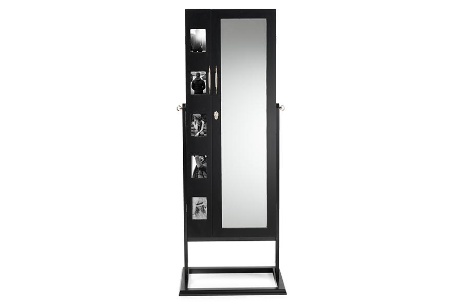 Vittoria Black Wood Square Foot Floor Standing Double Door Storage Jewelry Armoire Cabinet   Baxton Studio