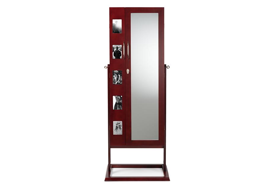 Vittoria Brown Wood Square Foot Floor Standing Double Door Storage Jewelry Armoire Cabinet   Baxton Studio