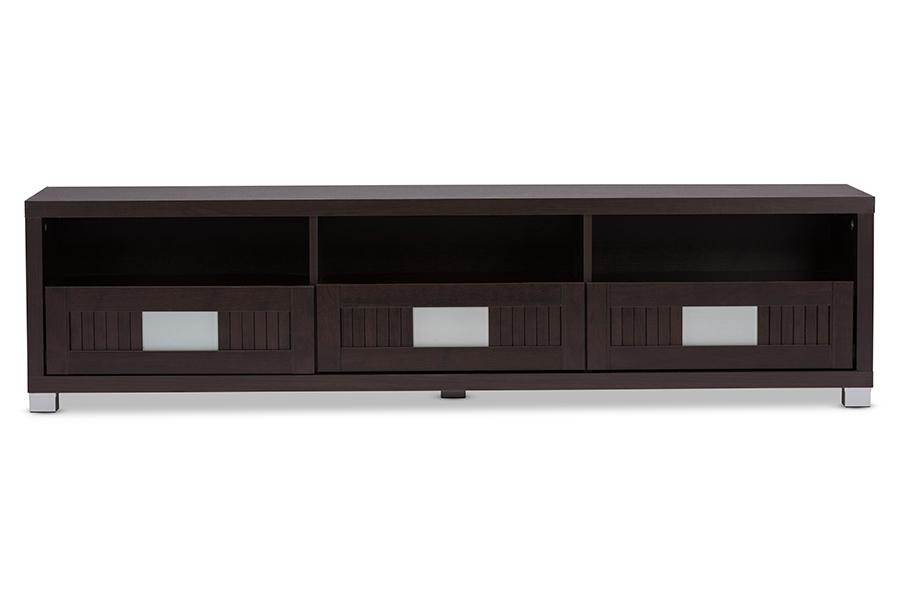 Gerhardine Dark Brown Wood 63-inch TV Cabinet with 3 drawer | Baxton Studio
