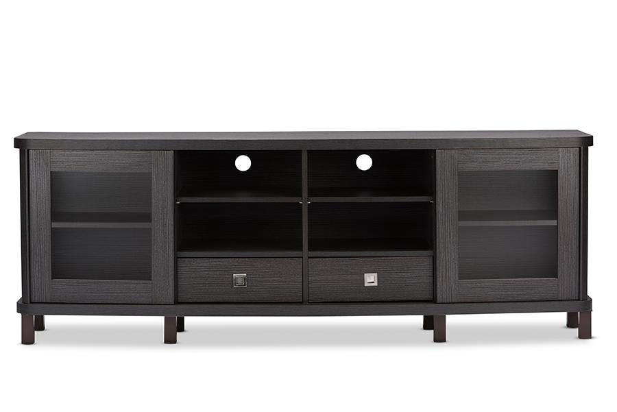 Walda 70-inch Greyish Dark Brown Wood TV Cabinet with 2 Sliding Doors 2 Drawers | Baxton Studio