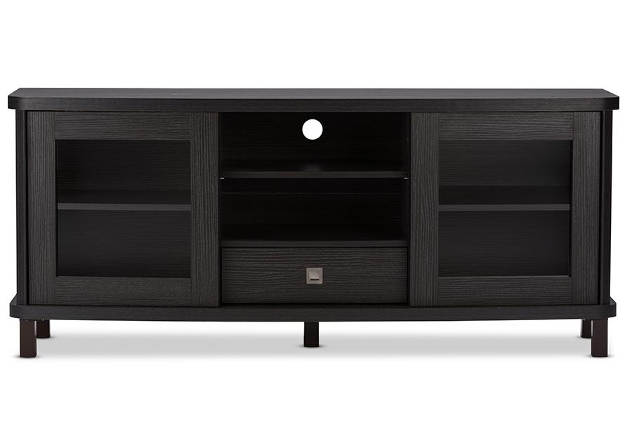 Walda 60-inch Greyish Dark Brown Wood TV Cabinet with 2 Sliding Doors 1 Drawer | Baxton Studio