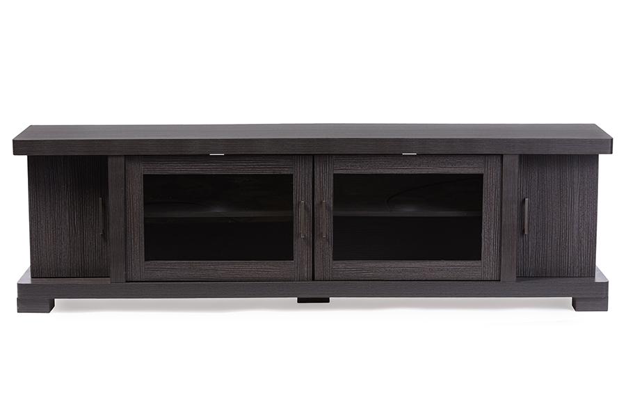 Viveka 70-inch Greyish Dark Brown Wood TV Cabinet with 2 Glass Doors 2 Doors | Baxton Studio