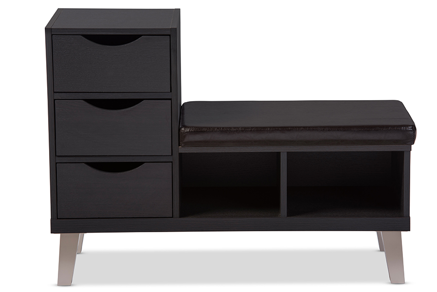 Arielle Dark Brown Wood 3 drawer Shoe Storage Leatherette Seating Bench with Two Open Shelves | Baxton Studio