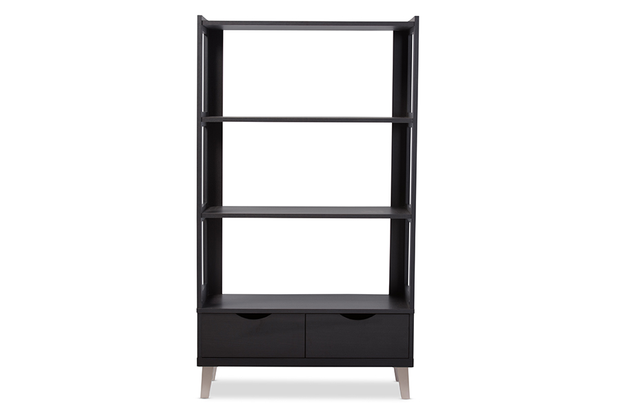 Kalien Dark Brown Wood Leaning Bookcase with Display Shelves Two Drawers | Baxton Studio