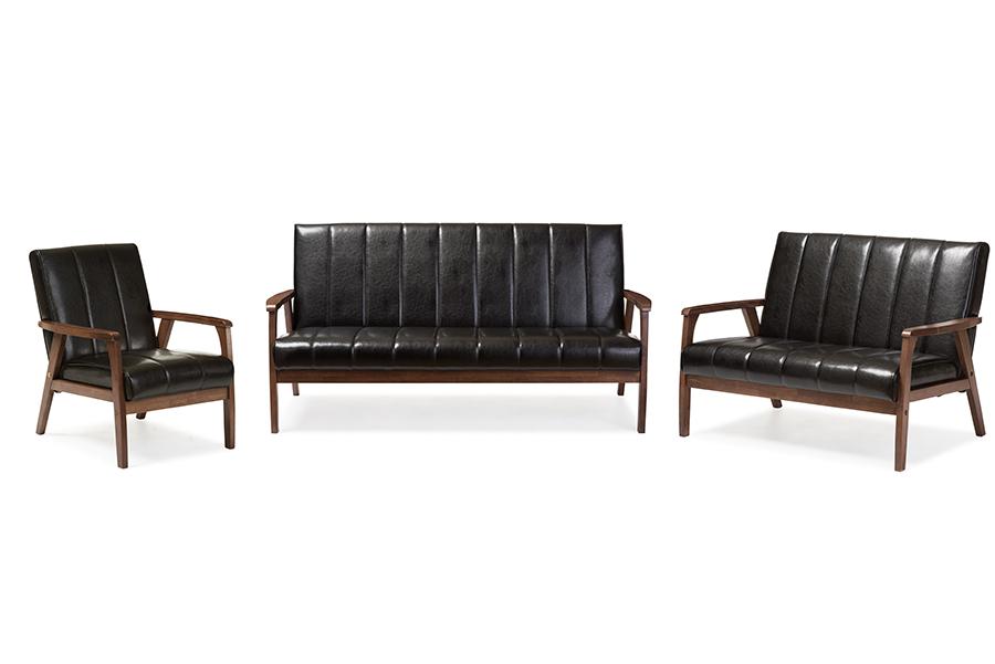 Nikko Black Faux Leather 3 Pieces Living Room Sets   Baxton Studio