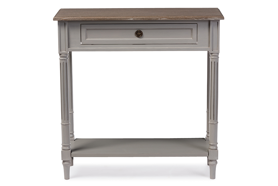 Edouard White Wash Wood Grey 1 drawer Console Table | Baxton Studio