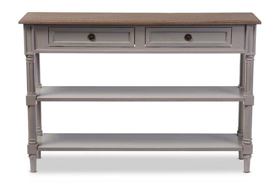 Edouard White Wash Wood Grey 2 drawer Console Table | Baxton Studio