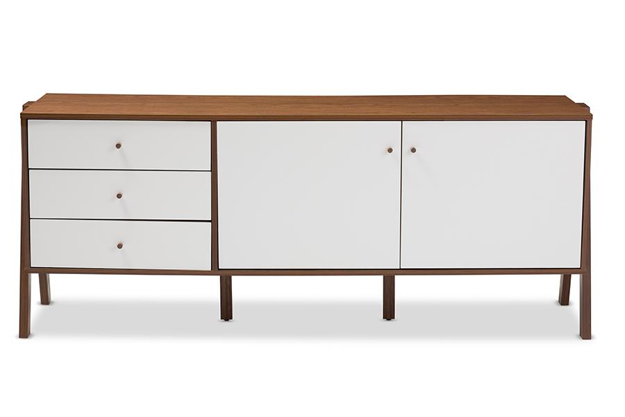 Harlow White Walnut Wood Sideboard Storage Cabinet | Baxton Studio