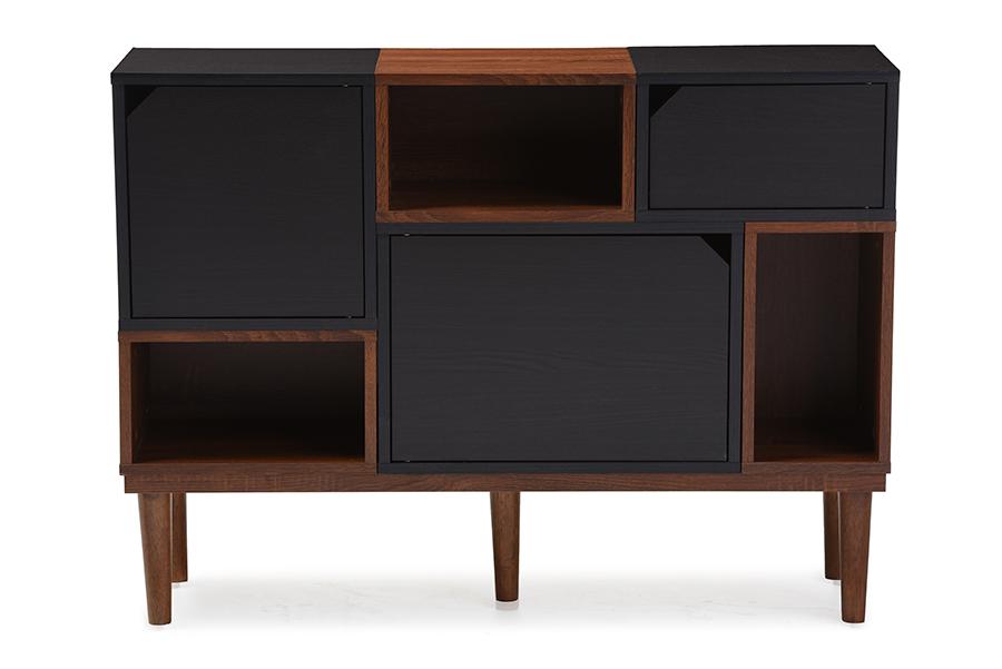 Anderson Retro Oak Espresso Wood Sideboard Storage Cabinet   Baxton Studio