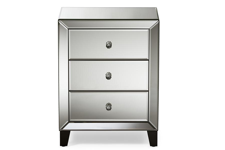Chevron Mirrored 3 Drawers Nightstand Bedside Table | Baxton Studio