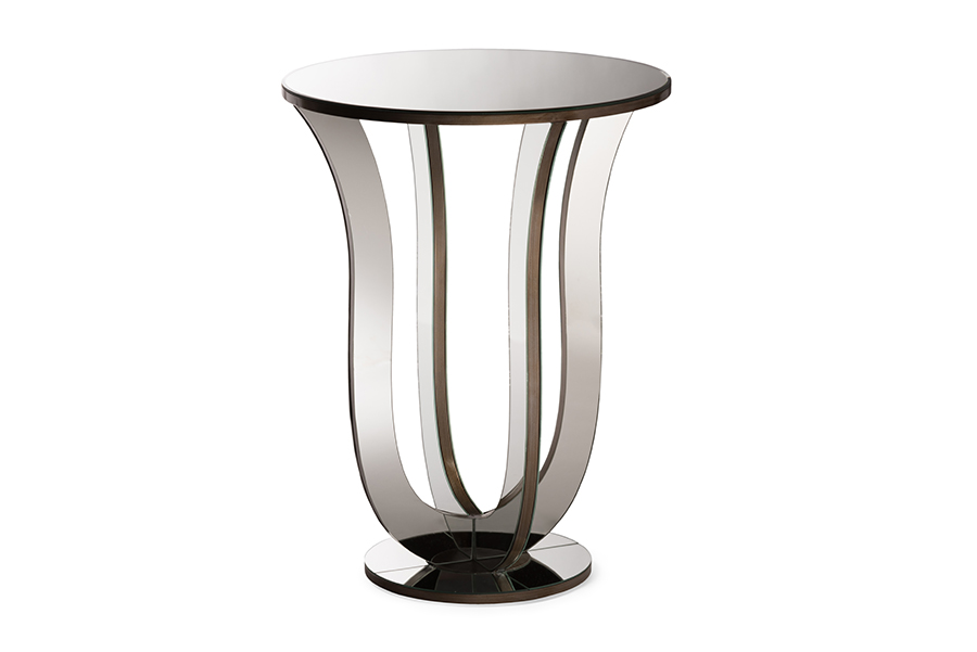 Kylie Mirrored Accent Side Table | Baxton Studio