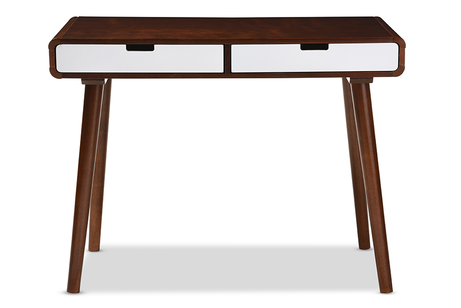 Casarano Walnut White 2 drawer Wood Home Office Writing Desk | Baxton Studio