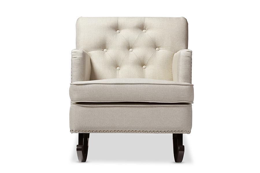 Bethany Light Beige Fabric Tufted Rocking Chair   Baxton Studio