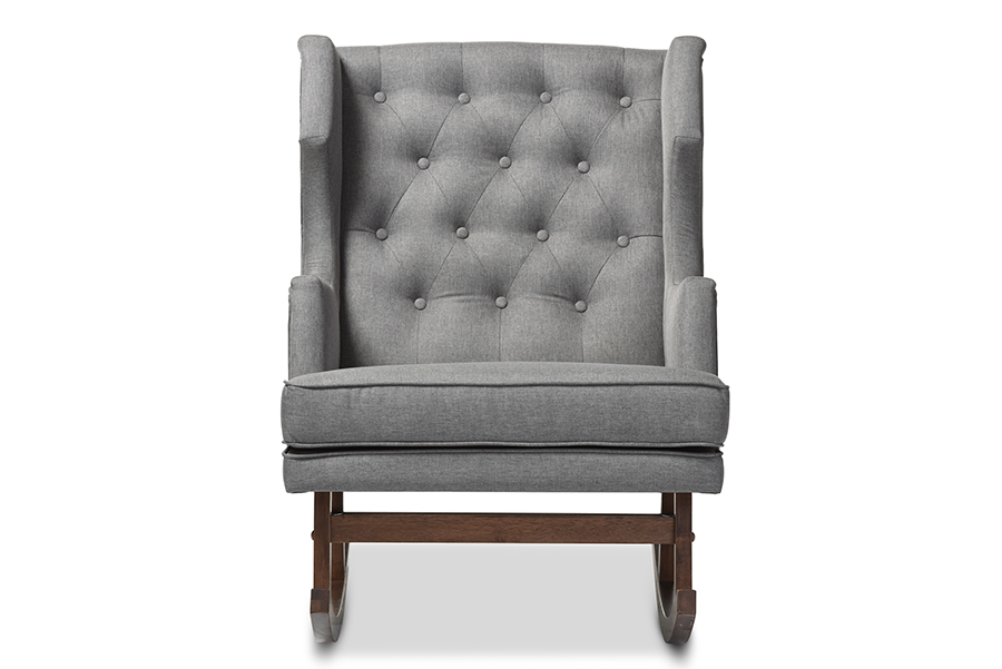 Iona Retro Grey Fabric Tufted Wingback Rocking Chair   Baxton Studio