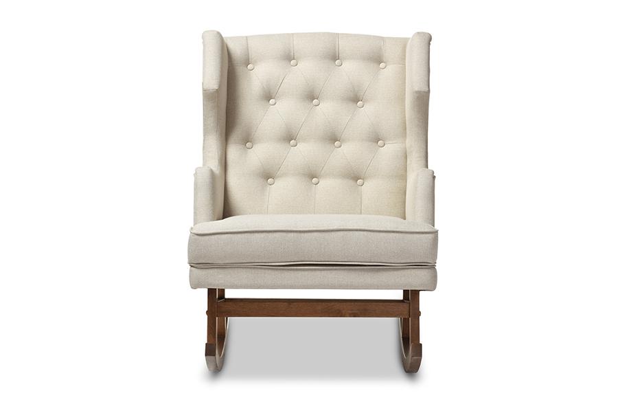 Iona Retro Light Beige Fabric Tufted Wingback Rocking Chair   Baxton Studio