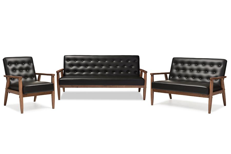 Sorrento Retro Black Faux Leather Wooden 3-pc Living room Set   Baxton Studio