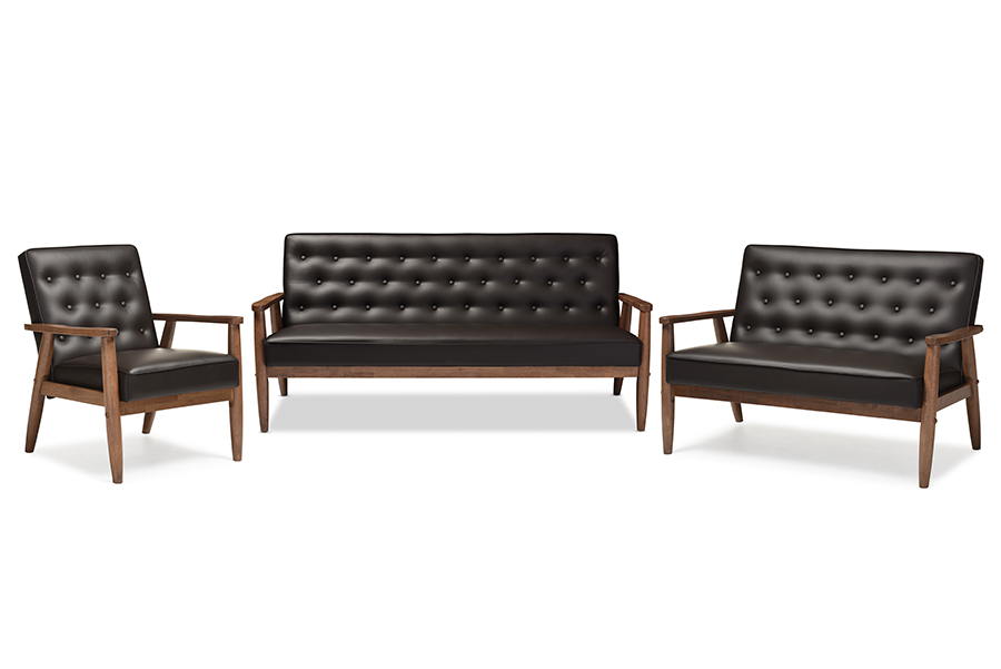 Sorrento Retro Brown Faux Leather Wooden 3-pc Living room Set   Baxton Studio