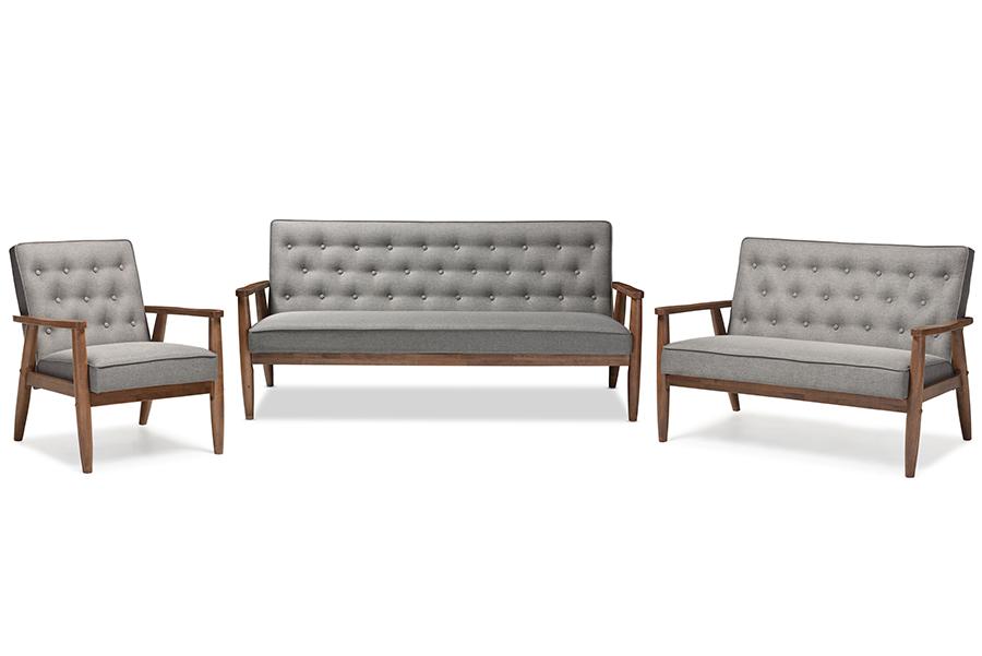 Sorrento Retro Grey Fabric Wooden 3-pc Living room Set   Baxton Studio