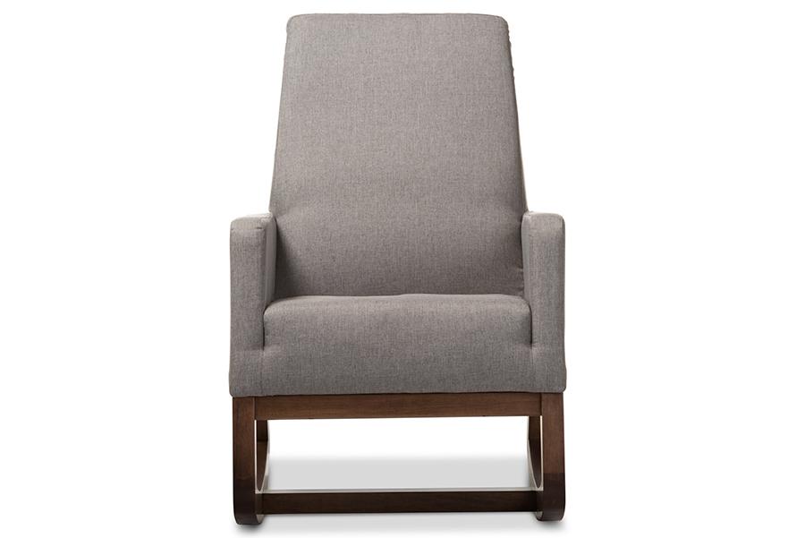 Yashiya Retro Grey Fabric Rocking Chair | Baxton Studio