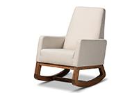 Yashiya Retro Light Beige Fabric Rocking Chair | Baxton Studio