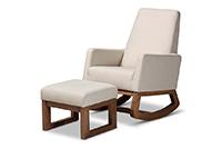 Yashiya Retro Light Beige Fabric Rocking Chair Ottoman Set   Baxton Studio