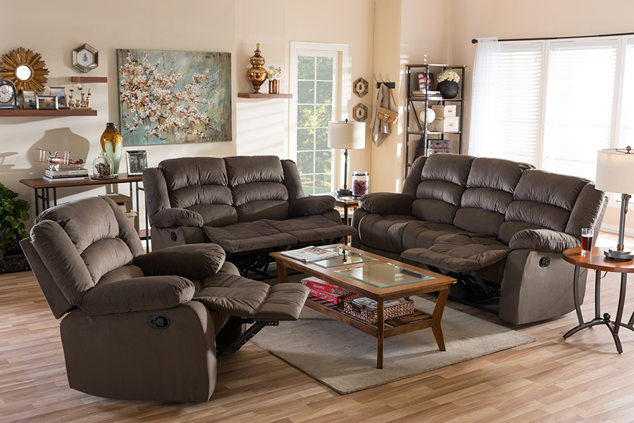 Hollace Taupe Microsuede Sofa Loveseat Chair Set with 5 Recliners Living room Set   Baxton Studio