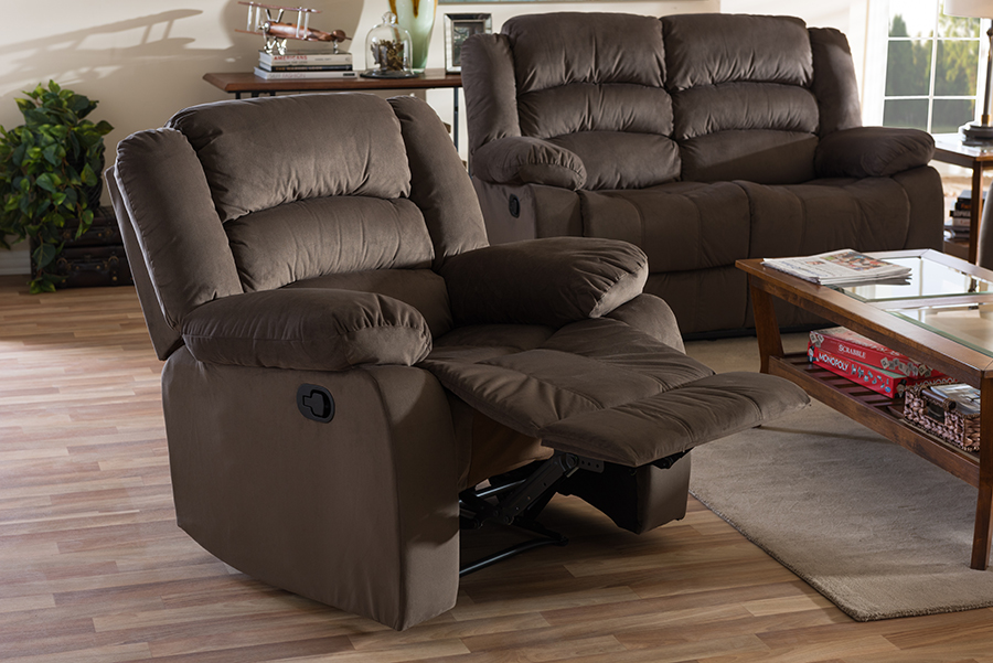 Hollace Taupe Microsuede Recliner | Baxton Studio