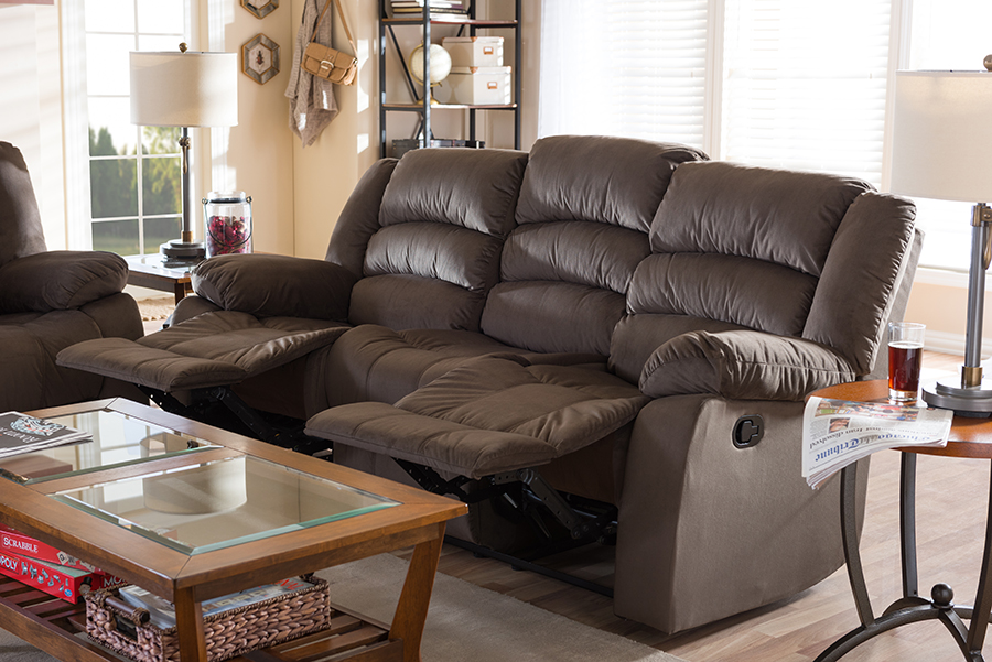Hollace Taupe Microsuede 3 Seater Recliner | Baxton Studio