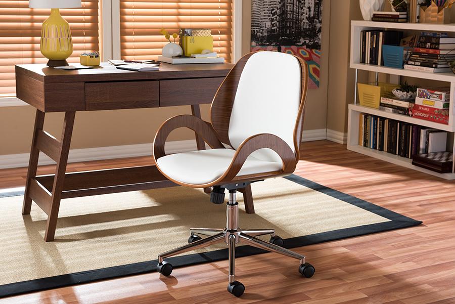 Watson White Walnut Office Chair | Baxton Studio