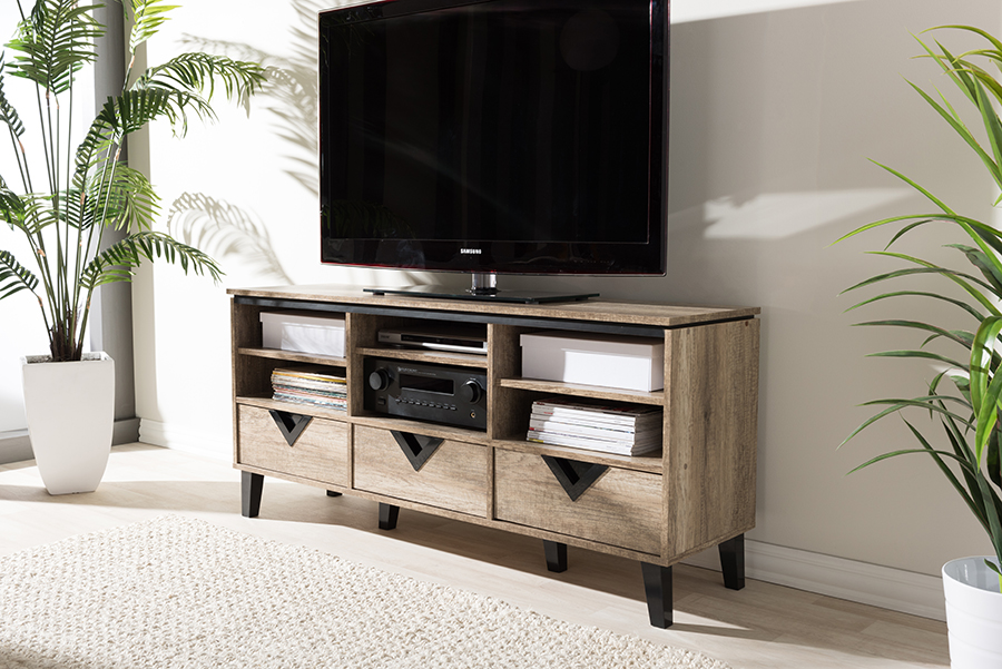 Wales Light Brown Wood 55-inch TV Stand | Baxton Studio