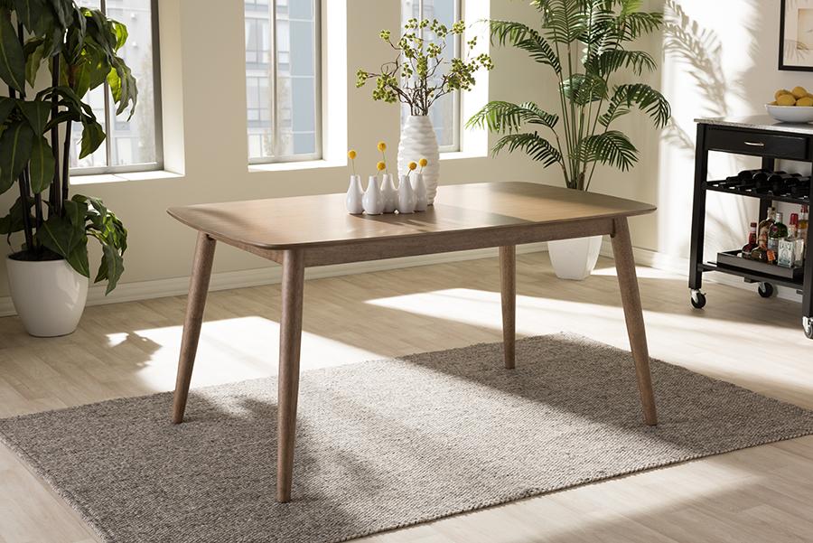 Edna Oak Light Brown Wood Dining Table | Baxton Studio