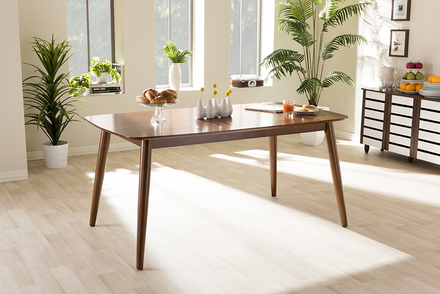 Flora Oak Medium Brown Wood Dining Table | Baxton Studio