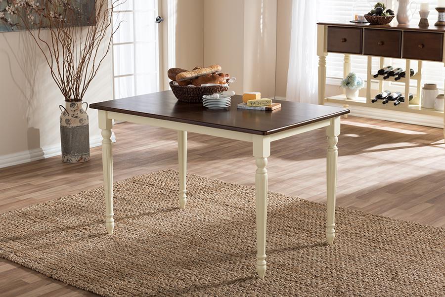 Napoleon Buttermilk Cherry Brown Wood Dining Table | Baxton Studio