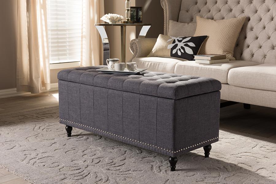 Kaylee Dark Grey Fabric Button Tufting Storage Ottoman Bench | Baxton Studio
