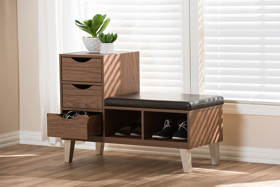 Arielle Walnut Wood 3 Drawer Shoe Storage Leatherette Seating Bench with Two Open Shelves | Baxton Studio