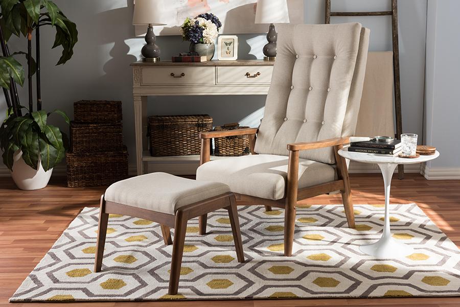 Roxy Walnut Wood Light Beige Fabric Tufted High Back Lounge Chair Ottoman Set   Baxton Studio