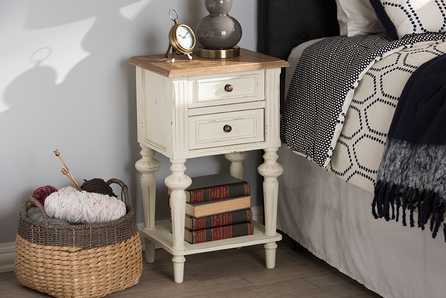 Marquetterie Oak White Wash Wood 2 Drawer 1 Shelf Nightstand | Baxton Studio