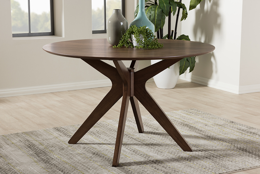 Monte Walnut Wood 47-inch Round Dining Table | Baxton Studio