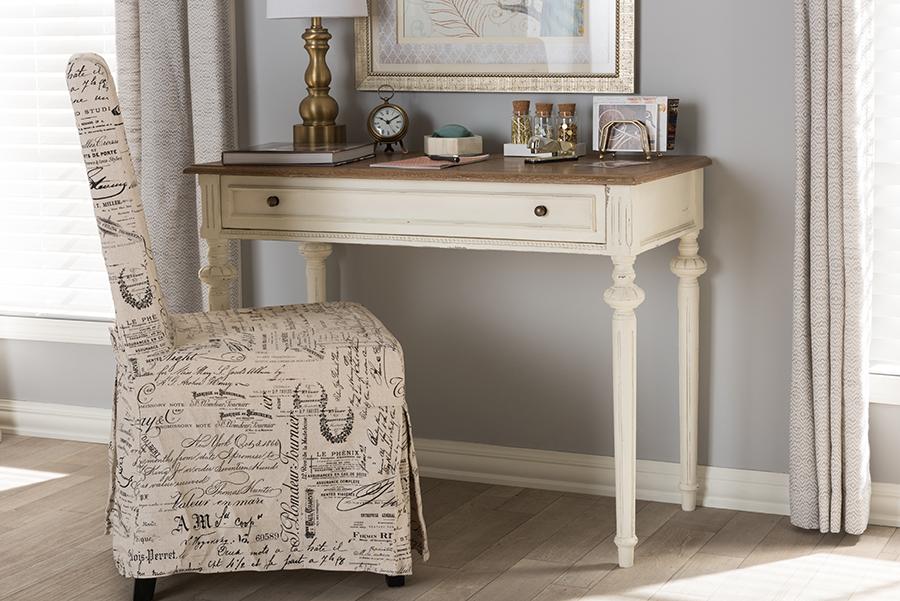 Marquetterie Oak Whitewash Writing Desk | Baxton Studio