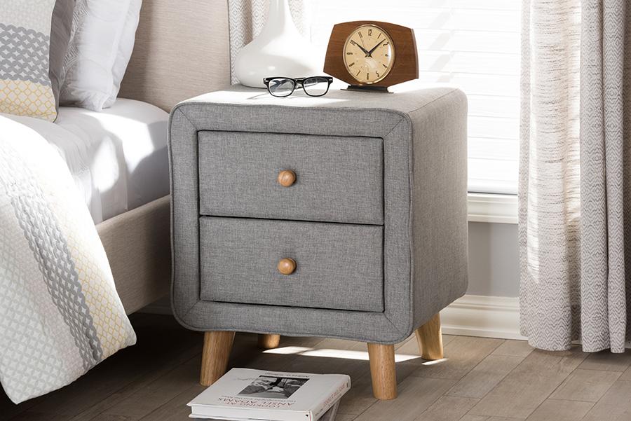 Jonesy Grey Fabric 2 Drawer Nightstand | Baxton Studio