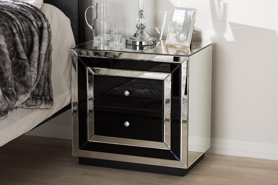 Cecilia Mirrored 2 Drawer Nightstand | Baxton Studio