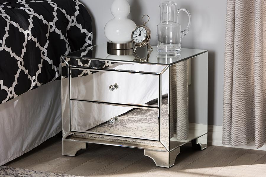 Farrah Mirrored 2 Drawer Nightstand | Baxton Studio