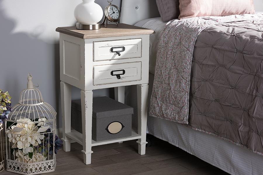 Dauphine Oak White Wash Wood Nightstand | Baxton Studio