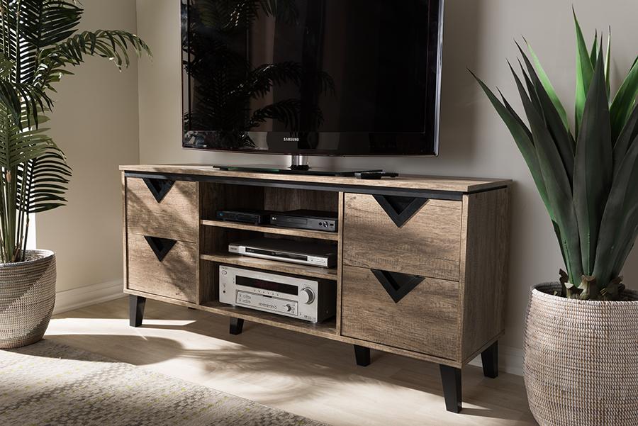 Beacon Light Brown Wood 55-inch TV Stand | Baxton Studio